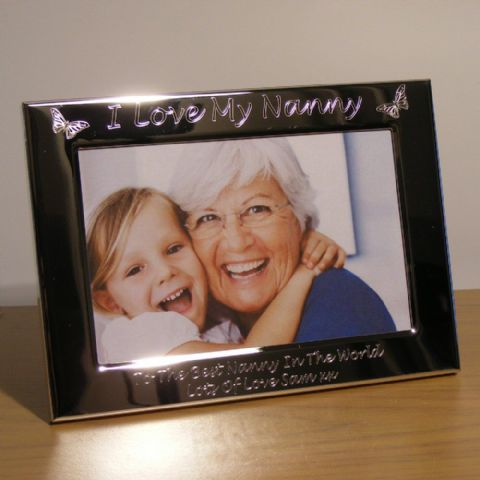 Personalised Butterfly Photo Frame I Love My Nanny Grandma Gift